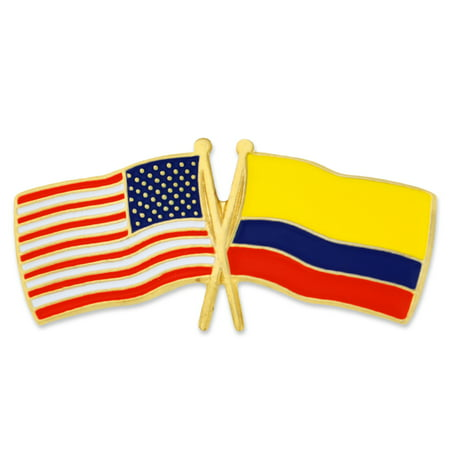 PinMart's USA and Colombia Crossed Friendship Flag Enamel Lapel Pin