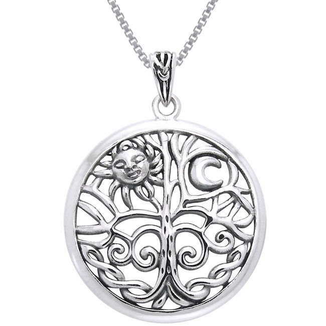 Carolina Glamour Collection Sterling Silver Celtic Sun Moon Tree of Life Necklace