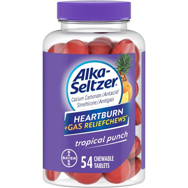 Alka-Seltzer Heartburn + Gas Relief Chews Tropical Punch, 54 Count