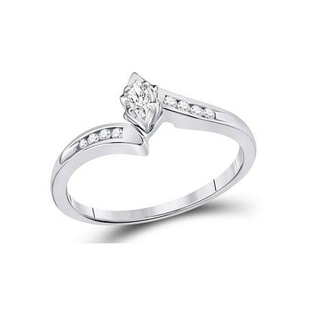 White Topaz Marquise Ring (1/6 Carat (ctw I2-I3) Diamond Marquise Ring in 10K White Gold )