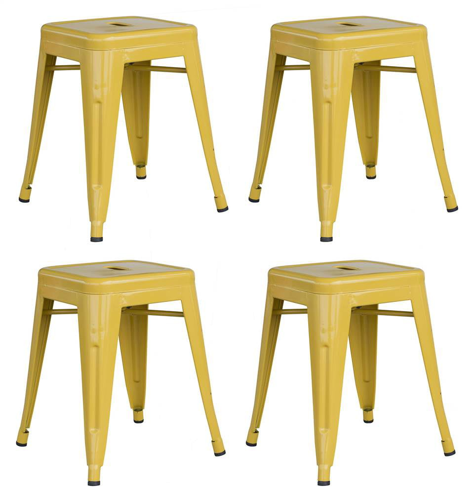 Amerihome Loft Black 18 Quot Metal Bar Stool Yellow Set Of 4
