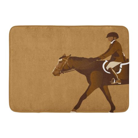 Jumper Saddle (SIDONKU Brown Derby Equestrian Rider Horse Jumper Reins Saddle Boots Doormat Floor Rug Bath Mat 23.6x15.7 inch)