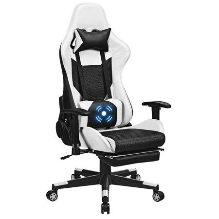 Costway Massage Gaming Chair Recliner Racing Chair w/ Massage Lumbar Support & Footrest