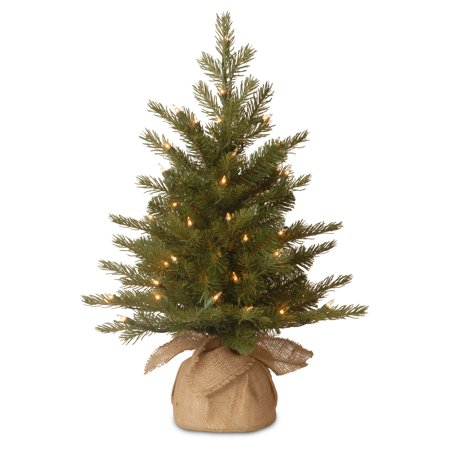 National Tree Pre-Lit 3' Feel-Real Nordic Spruce Small Artificial Christmas Tree in Burlap with 100 Clear Lights - Walmart.com