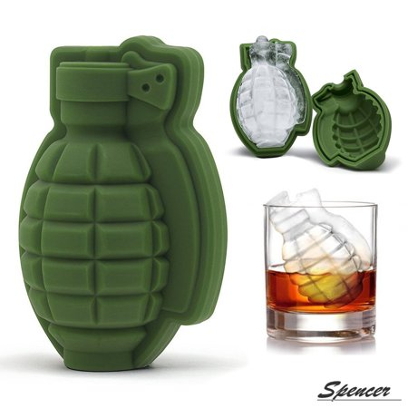 Green Gift Wine (Spencer 3D Grenade Silicone Ice Cube Mold Tray Maker Party Bar Military for Whiskey and Wine Mens Gift DIY, Green)