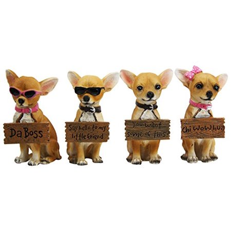 Set of 4 Adorable Tea Cup Chihuahua Dog Holding Humorous Signs Small Figurines 4.25