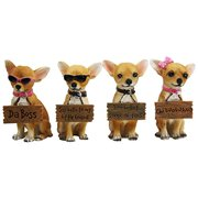 """Set of 4 Adorable Tea Cup Chihuahua Dog Holding Humorous Signs Small Figurines 4.25""""Tall"""