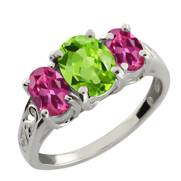 2.15 Ct Oval Green Peridot and Pink Tourmaline 14k White Gold Ring by