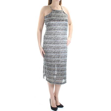 BAR III Womens Black Striped Spaghetti Strap Square Neck Midi Sheath Dress  Size: -