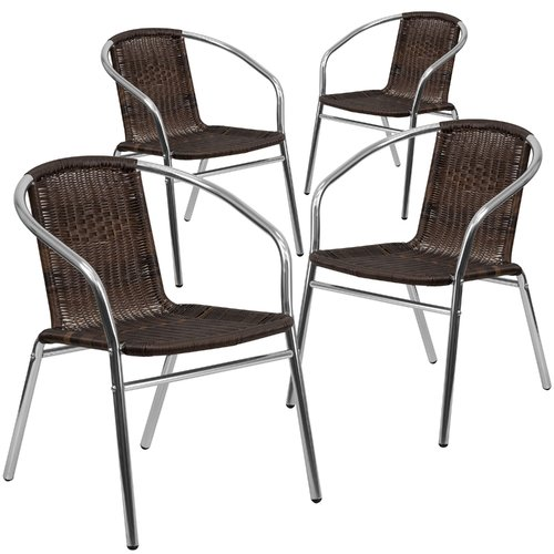 Flash Furniture 4pk Aluminum and Dark Brown Rattan Commercial Indoor-Outdoor Restaurant Stack Chair