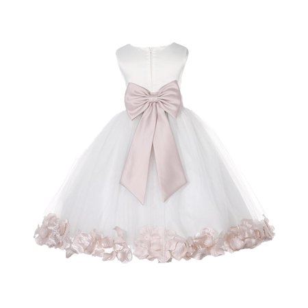 Ekidsbridal Satin Ivory Blush Tulle Petal Christmas Junior Bridesmaid Recital Easter Holiday Wedding Pageant Communion Princess Birthday Girl Clothing Baptism 302T size 2 Flower Girl Dress - Girls Size 8 Christmas Dress