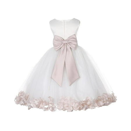 Ekidsbridal Satin Ivory Blush Tulle Petal Christmas Junior Bridesmaid Recital Easter Holiday Wedding Pageant Communion Princess Birthday Girl Clothing Baptism 302T size 2 Flower Girl Dress (Christmas Dress Up For Kids)