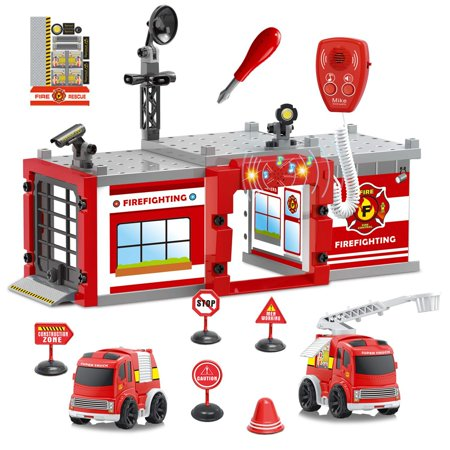 Fire Truck Take Apart Toys City Fire Station Playset Parking Garage Toys with Light & Sound Pretend Play for Boys F-290
