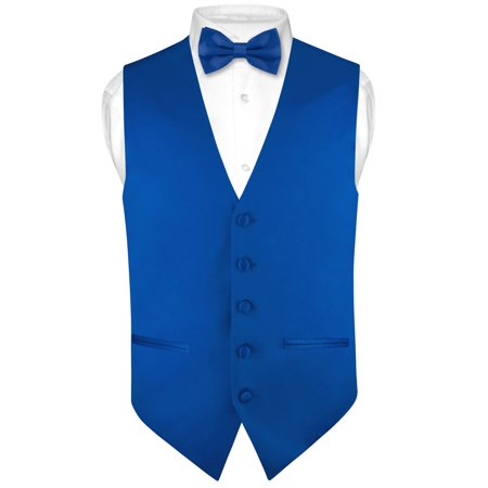 Mens SLIM FIT Dress Vest BowTie Solid Royal Blue Color Bow Tie Handkerchief Set - Vest Bow Tie