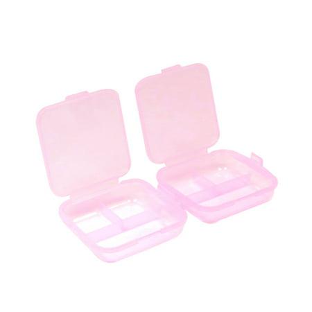 Pink Hard Plastic Rectangle Shape Mini Medicine Drug Pill
