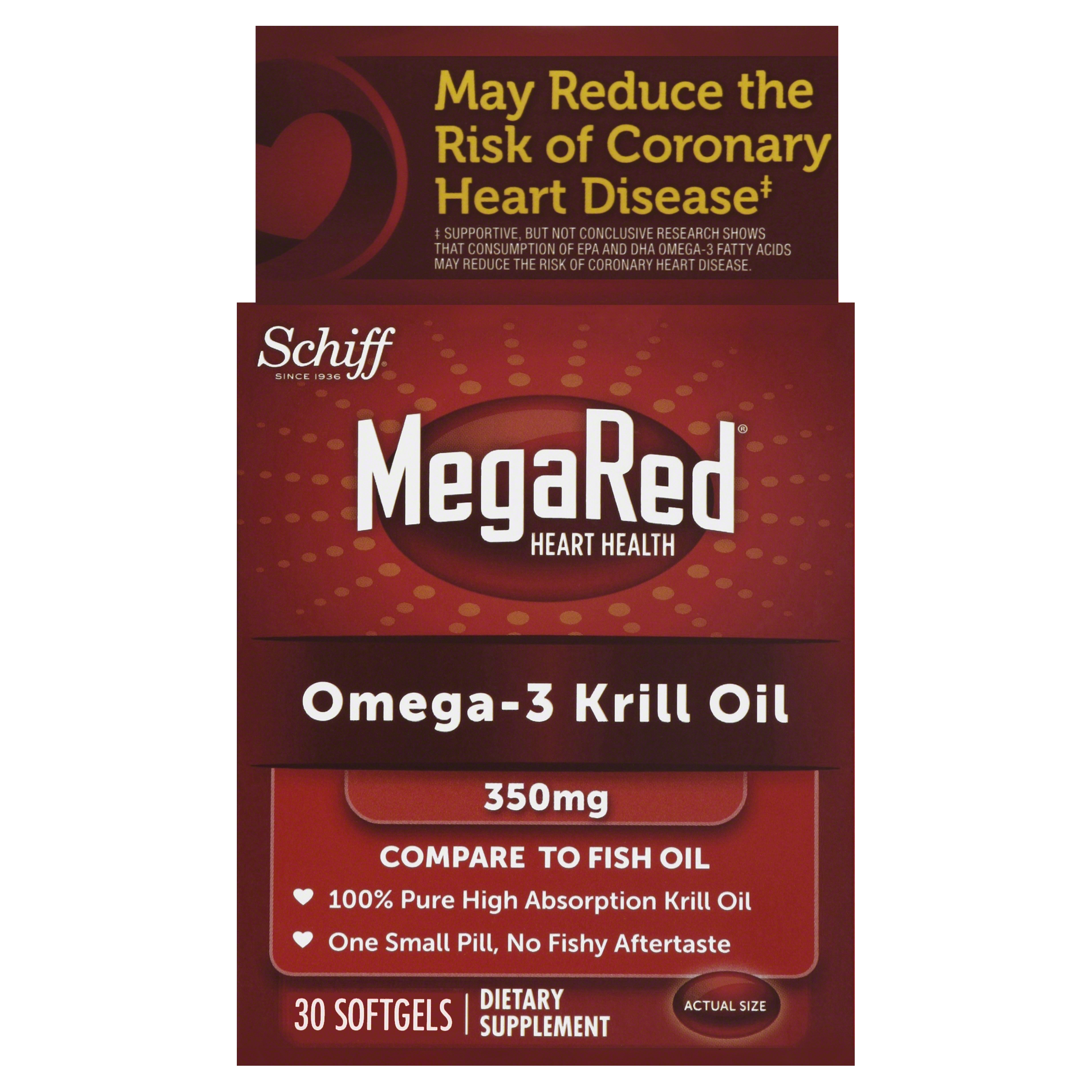 MegaRed Omega 3 Krill Oil 350mg Supplement, 30 Count