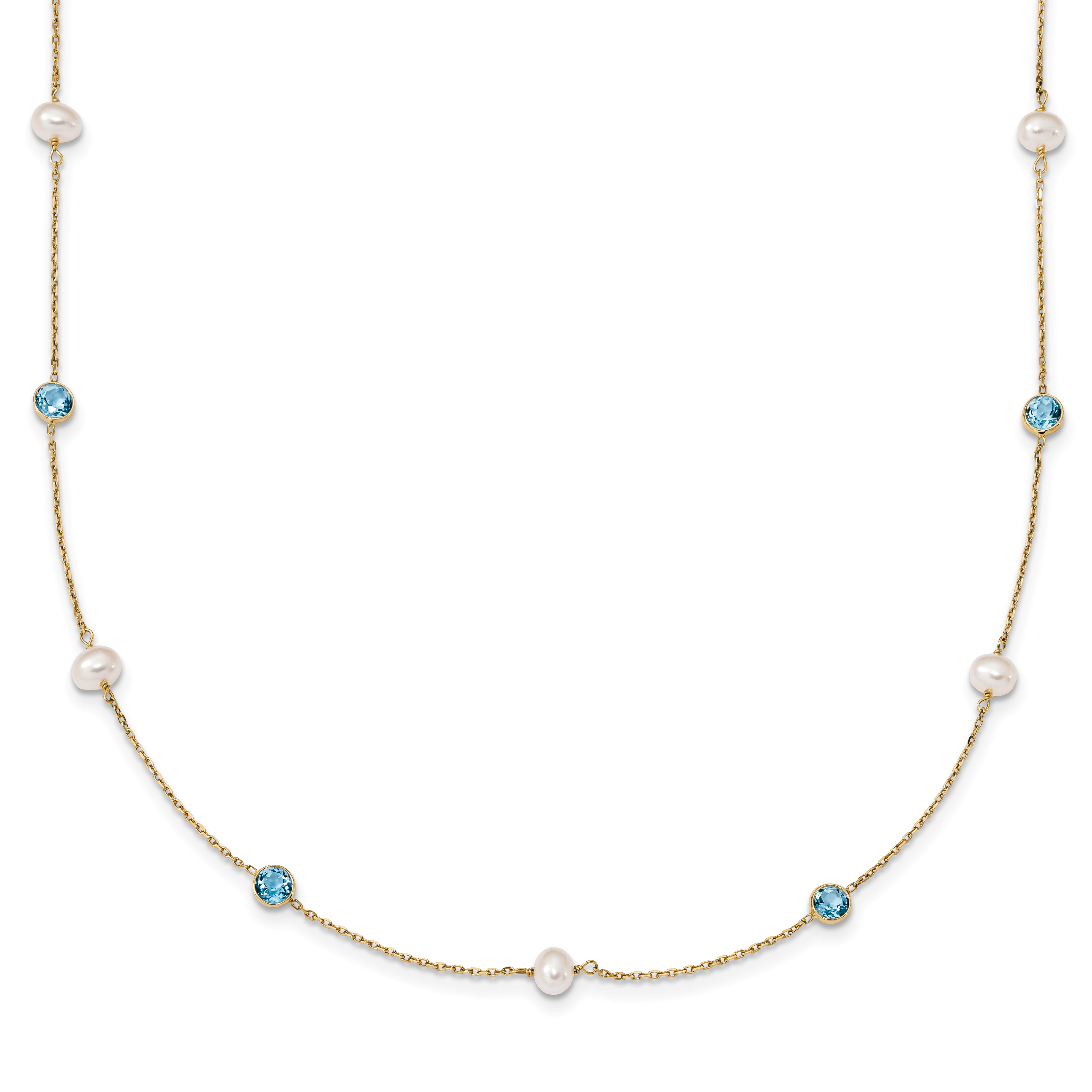 14k 5-6mm White Rice FWC Pearl Blue Topaz 7 Pearl Station Necklace by Saris and Things QG