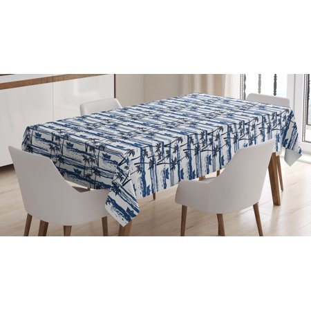 Palm Tree Tablecloth, Hawaiian Pattern with Paper Boats on Worn Sea Waves Coastal Artwork, Rectangular Table Cover for Dining Room Kitchen, 52 X 70 Inches, Blue Dark Blue White, by Ambesonne