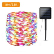 Outdoor Solar String Light, EEEKit 66FT 200LED/33FT 100 LED Solar Fairy Lights, 2/1Pcs Waterproof Decoration Copper Wire Lights with 2 Lighting Modes for Patio Yard Trees Christmas Wedding Party Decor