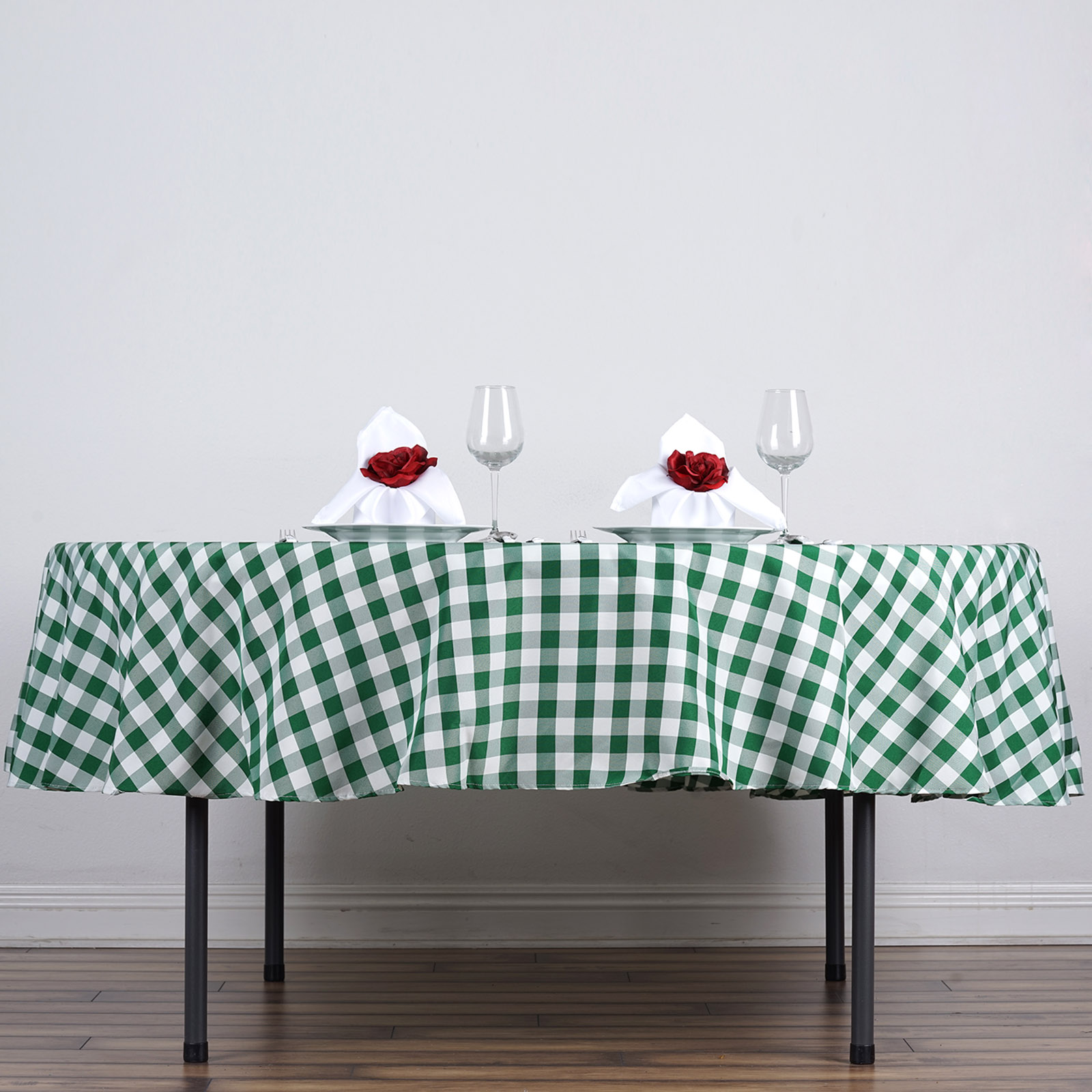 "BalsaCircle 90"" Round Gingham Checkered Polyester Tablecloth for Garden Party Wedding... by BalsaCircle"
