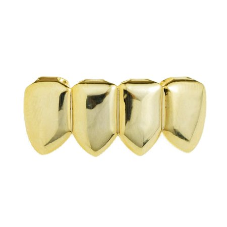 14k Gold Plated Grillz Four 4 Tooth Lower Teeth Plain Hip Hop Bottom Row Hip Hop