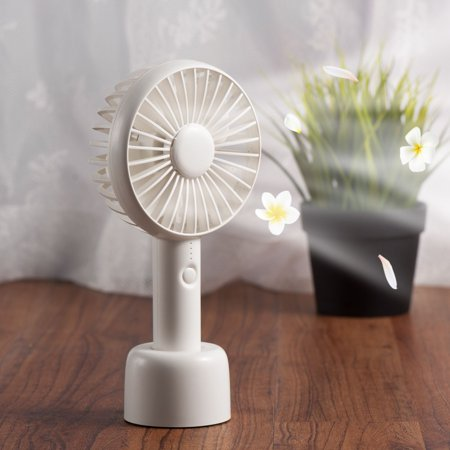 Insten Personal Portable Aroma Cooling Fan with Desk Stand Silent Electric Cooler 5 HOURS USAGE TIME USB Rechargeable Battery Operated for Office Indoor Traveling 3 Speed - White