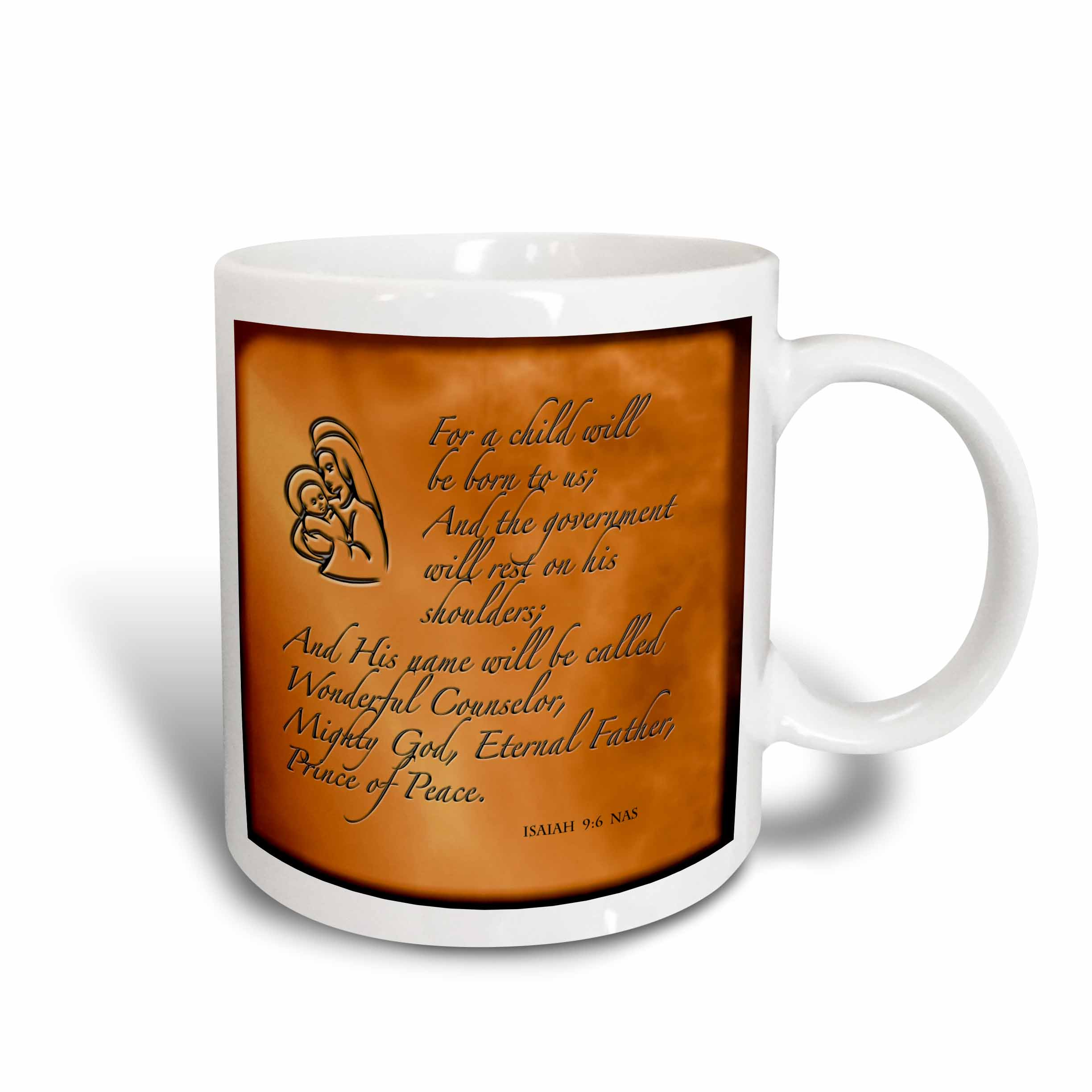 3dRose Isaiah 9 6 Bible verse predicting Jesus birth for Christmas engraved on copper background, Ceramic Mug, 11-ounce