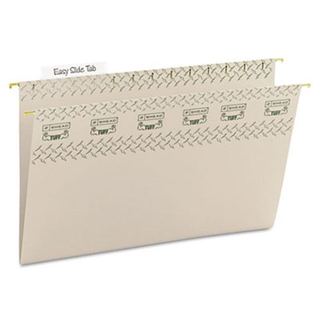 Smead 64093 Tuff Hanging Folder w/Easy Slide Tab- Legal- Steel Gray- 18/Pack