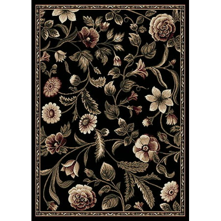 - Transitional  Area Rug Tropical Black Floral Leaves Vines Bordered Rug