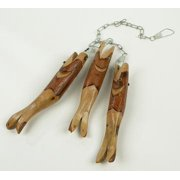 "33"" Natural Carved Sassafras Three Wooden Fish Decoration"