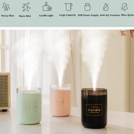 Ultrasonic Air Humidifier Candle Romantic Soft Light USB Essential Oil Diffuser Car Purifier Aroma Anion Mist