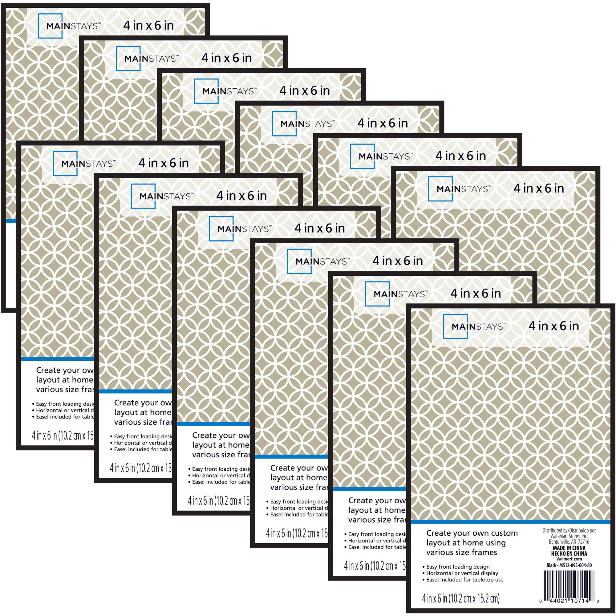 Mainstays 4x6 Format Picture Frame, Set of 12