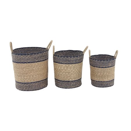 Decmode Set of 3 Traditional Round Seagrass Baskets With Black Trim, Light Brown