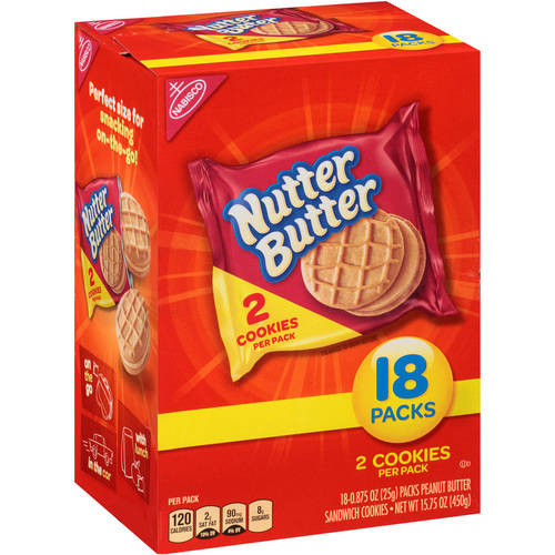 Nabisco Nutter Butter Peanut Butter Sandwich Cookies, 0.875 oz, 18 count