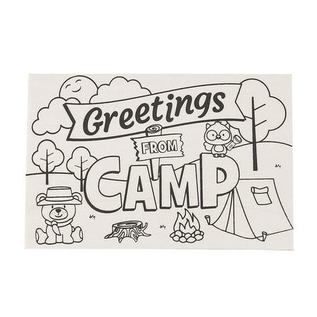 Fun Express - Cyo Wood Camp Postcards - Craft Kits - CYO - General - Misc CYO - General - 12 Pieces