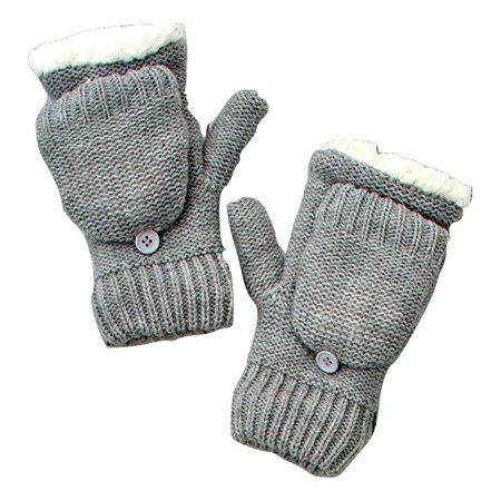 The Lakeside Collection Berber Lined Flip-Top Mittens (Gray), Super-soft and cozy lining keeps your hands warm By Ltd Commodities (Best Way To Keep Your Hands Warm)