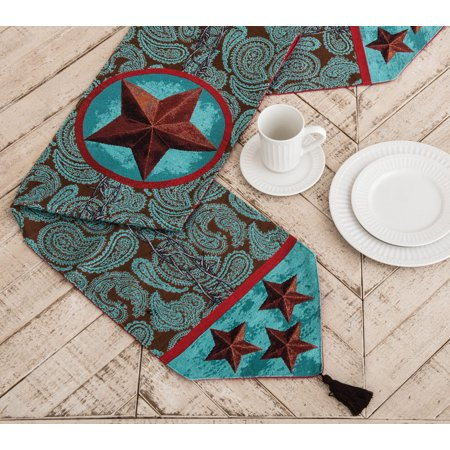 Turquoise Western Star Southwestern Table Runner Rustic