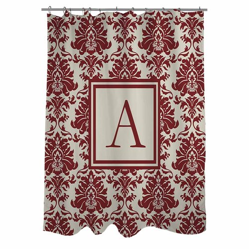 Thumbprintz Damask Monogram Crimson Shower Curtain