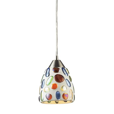 New Product ELK Lighting The Gemstones 1 Light Pendant In Satin Nickel And Sculpted Multicolor Glass 542-1 Sold By (Nickel Super Gem)