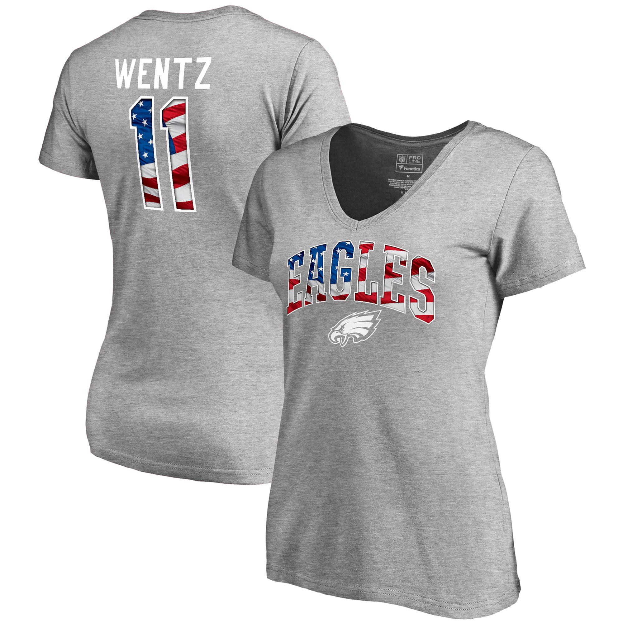 Carson Wentz Philadelphia Eagles NFL Pro Line by Fanatics Branded Women's Banner Wave Name & Number V-Neck T-Shirt - Heathered Gray