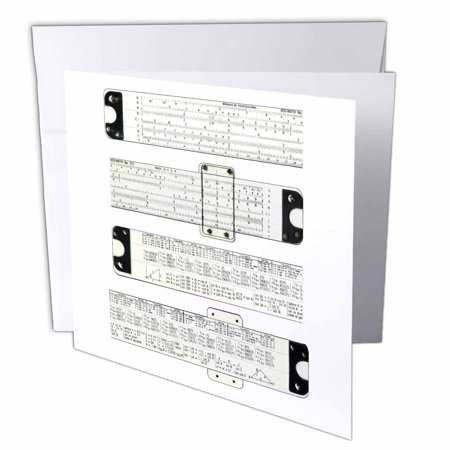 3dRose Slide Rules, Greeting Cards, 6 x 6 inches, set of 6