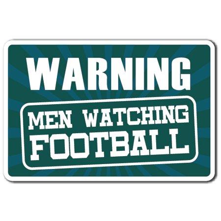 WARNING WATCHING FOOTBALL Decal men sports football tv warning  | Indoor/Outdoor | 9