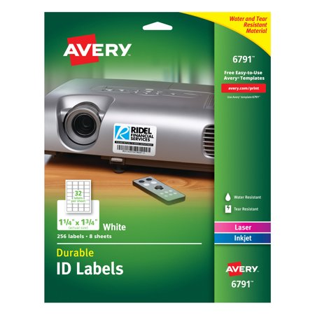 "Avery Durable ID Labels, Permanent Adhesive, 1-1/4"" x 1-3/4"", 256 Labels (6791) Avery Durable Id Labels"