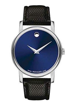 Movado Museum Blue Dial Black Leather Strap Women's Swiss Watch