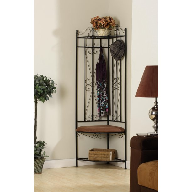 Clifland Corner Entryway Hall Tree Coat Rack With Bench, 6 Hooks