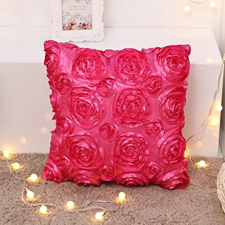 Tayyakoushi Throw Pillow Covers Solid Color 3D Rose Flower Satin ...