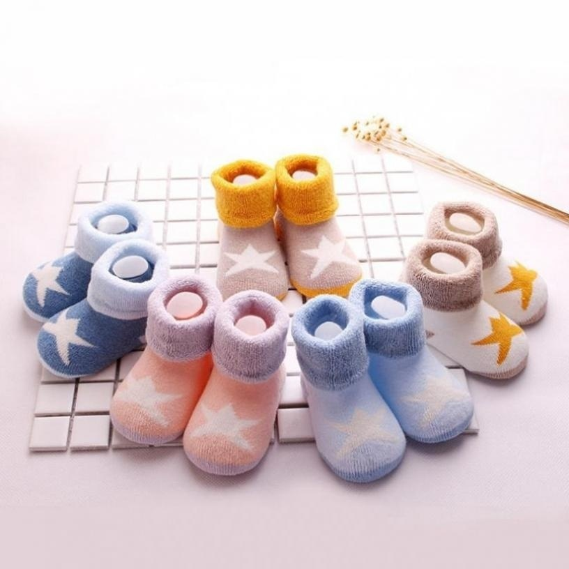Baby Rattle Socks Girls Boys Anti-slip Socks Cartoon Newborn Slipper Shoes Boots Booties Socks