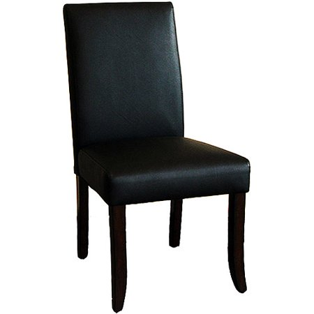 Canopy parsons bicast leather chairs set of 2 black for Black leather parsons chairs