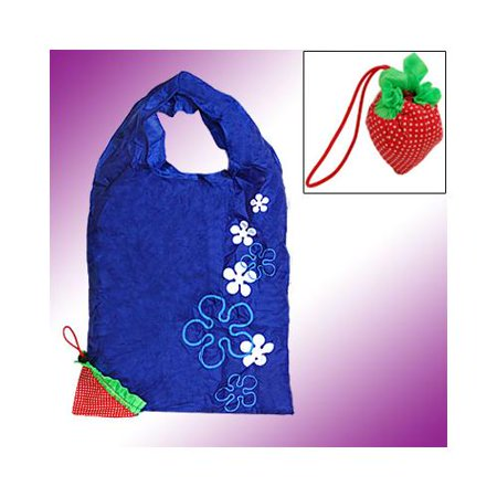Strawberry Recycle Blue Folding Shopping Tote Bag - Recycled Tote Bags
