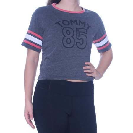 TOMMY HILFIGER Womens Black Printed Short Sleeve Crew Neck Crop Top Active Wear Top Size: S